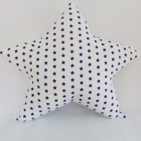 Cojín estrella blanca con estrellas azúl marino