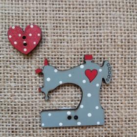 """Botón """"Máquina de coser""""(gris y rojo)"""