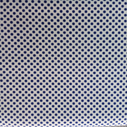 Tela  color crema  en topos azules