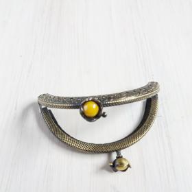 boquilla de plata para monedero redonda con flor y perlita amarilla