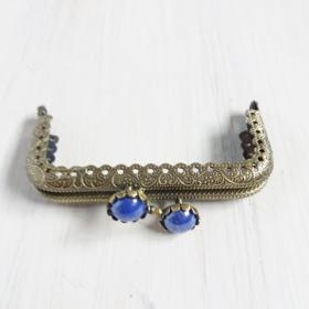 boquilla vintage para monedero con flor y perla azul marino